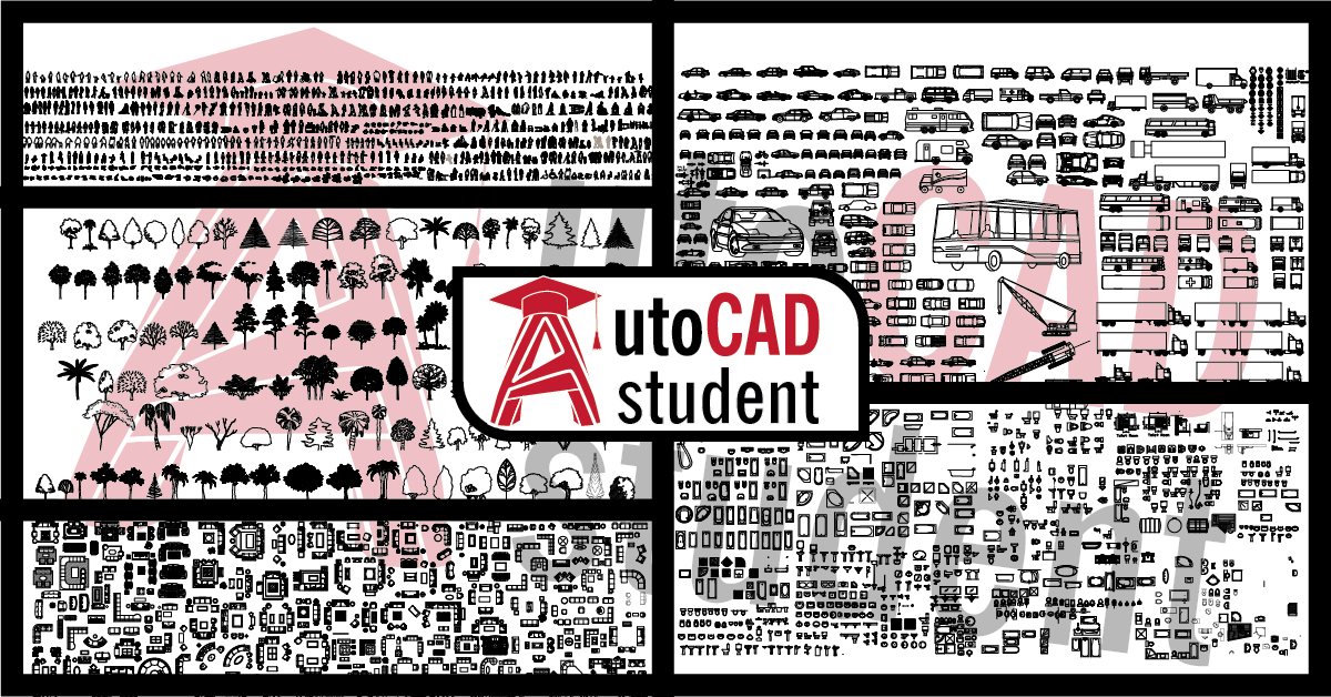 Free cad blocks of people and plants | AutoCAD student