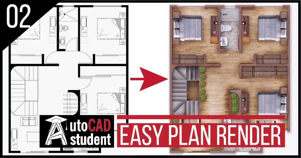 Easy Plan Render | Single house plan render in Photoshop